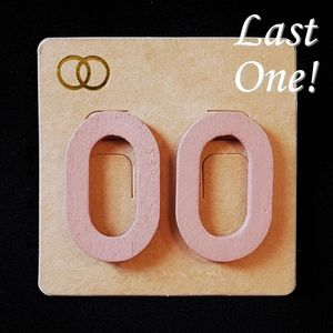 Pink Wood Oval Cut-Out Earrings